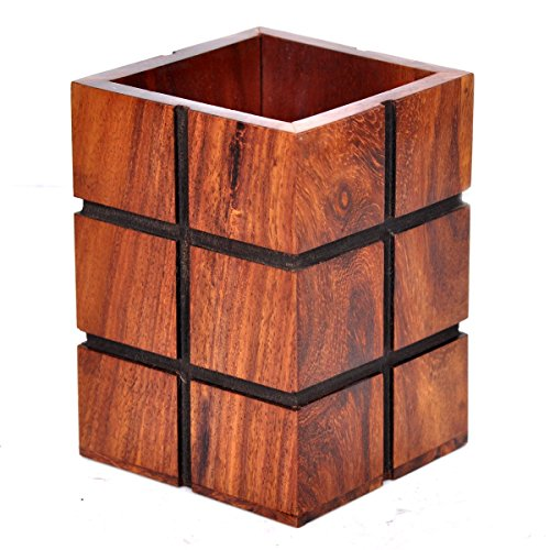 Hashcart Indian Rosewood Pencil Holder Decorative Design Wooden Office Pen and Pencil Holder, Office, Home Gift for Birthday.]()