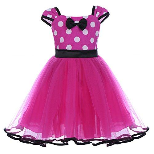 IBTOM CASTLE Toddler Girl Princess Polka Dots Christmas Birthday Costume Bowknot Ballet Leotard Tutu Dress up Z# Rose(B) 18-24 Months ()