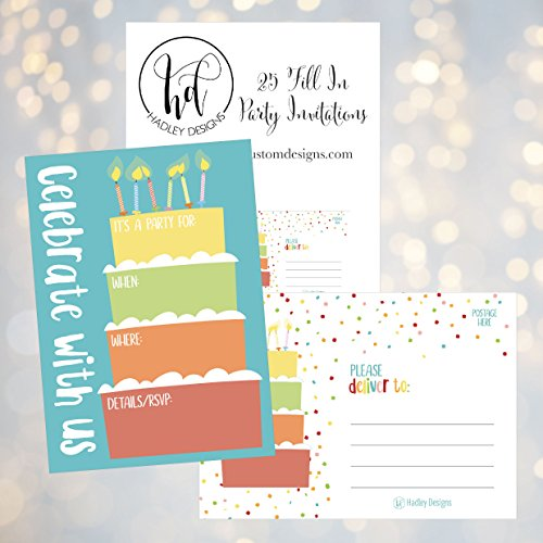 25 Cake Rainbow Party Invitations For Kids Teens Adults