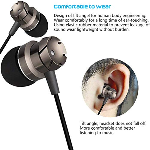 Wired Earphones, 3.5mm Mic Stereo and Volume Control Waterproof Wired Earphone
