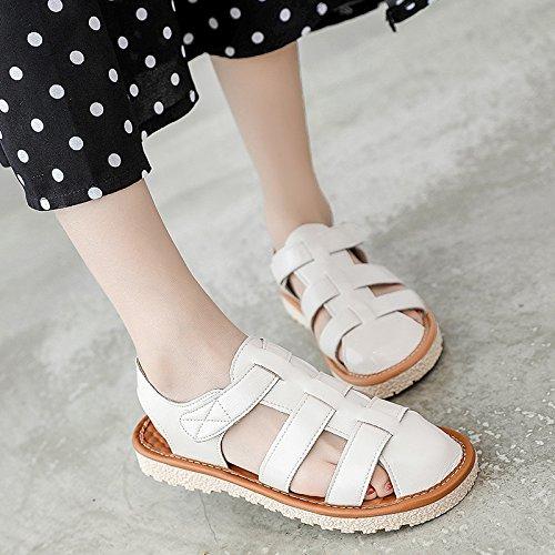 De Verano Baotou Mujer Expuestos Salvajes Ocio Una Alumnas Plana Base Con En GAOLIM M Sandalias blanco Zapatos El Sf6xHqBqw