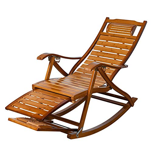 Rocking Chairs MEIDUO Rocking Lounger Bamboo Recliner Chair Wooden with Telescopic Footrest and Foot Massager, Foldable Garden Sun Lounger Chair Nap Chair for Patio Balcony