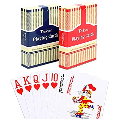 Teskyer Playing Cards, Poker Size, Large Print Jumbo Index, Linen Finish Surface,Blue and Red: Sports & Outdoors