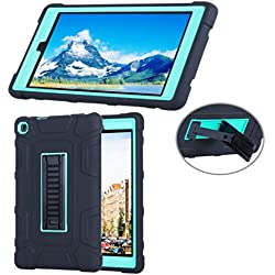 """SMYTShop Silicone Case for Amazon Fire HD 8"""" (Previous Generation - 6th) 2016 release -[Kids Friendly] Light Weight [Anti Slip] Shock Proof Silicone Protective Cover (Black+mint Green)"""