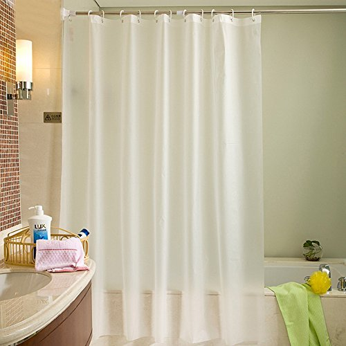 Uforme Classic Solid Shower Curtain Liner PEVA Eco-friendly Home Decor Bathroom Curtain Mildew Resistant and Water/Soap Resistant with Hooks, 60 Inch By 72 Inch (Transparent Curtain Plastic)