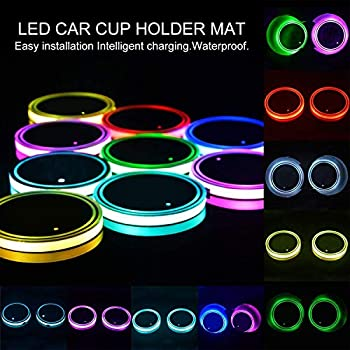 1Pair Switchable Colorful LED Car Cup Holder Mat Pad Atmosphere Light Lamp USB