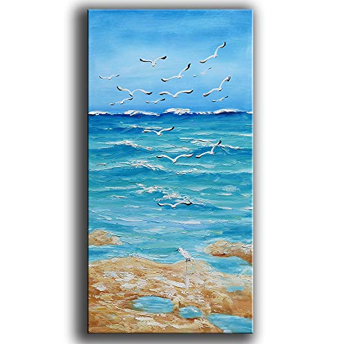 Tyed Art- Seascape Landscape Abstract Art Painting Contemporary Art Paintings Oil Painting on Canvas 3D Pictures Canvas Wall Art Paintings Modern Home Decor Artwork Paintings Ready to Hang 24x48inch