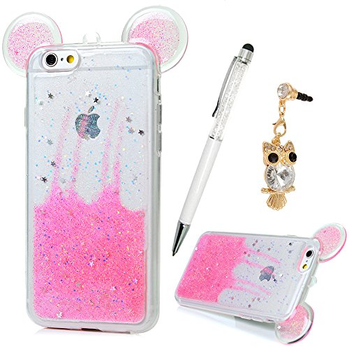 """Price comparison product image iPhone 6S Plus Case, iPhone 6 Plus Case (5.5""""), YOKIRIN Cute 3D Glitter Cute Ears Transparent Plastic Luxury Bling Sparkle Stars & Love Heart Flexiable Soft TPU Gel Silicone Case Cover,Pink"""