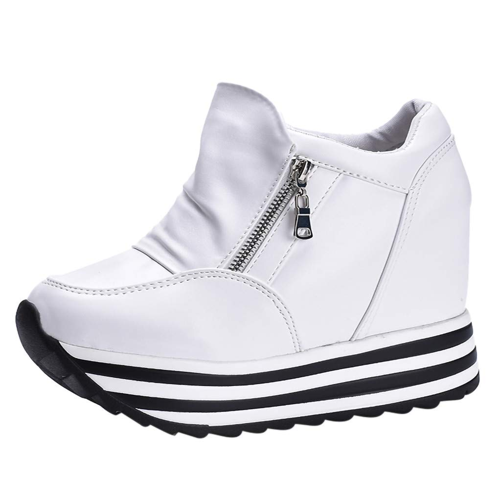 Claystyle Womens Increased Within The Higher Flat Shoes Side Zipper Casual High Heels Wedges Platform Sneaker(White,US: 7) by Claystyle Shoes (Image #2)