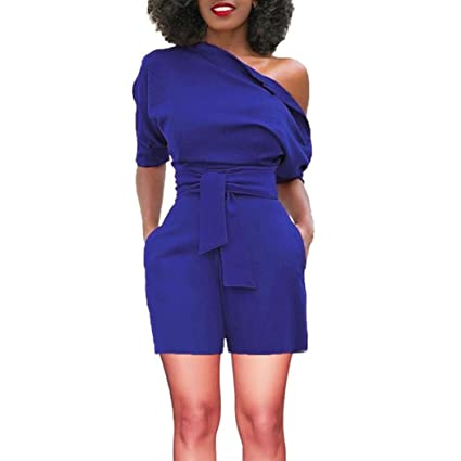b27161d66e Amazon.com  Makaor Fashion Women Sexy Off Shoulder Ruffle Short Romper  Short Sleeve Jumpsuit With Belt (Blue