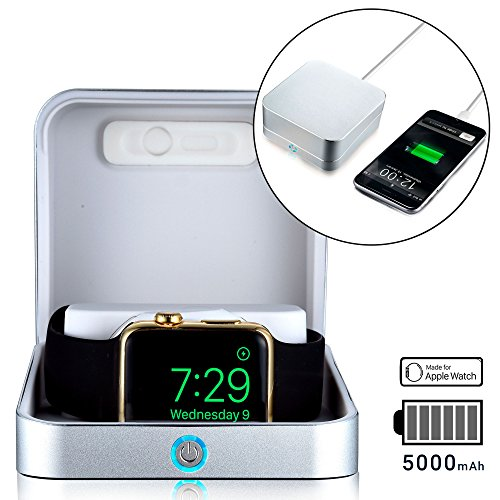 Apple Watch charger case [iWatch Charger & iPhone Power Bank] SUMATO WATCHBOX Travel Box, Desk Night Stand, Charging Station for iWatch 1 2 3 | MFI Certified, 5000mAh, Built-in Watch Cable (Silver)