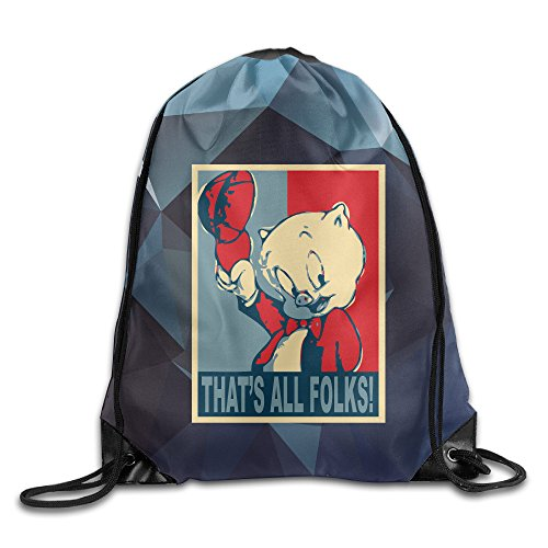 OAO Porky Pig That S All Folks Drawstring Backpacks/Bags.