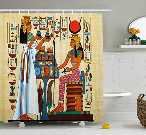 Ancient Egyptian Cloth - Ambesonne Retro Shower Curtain, Papyrus Design with Elements of Ancient Egyptian History Illustration Pattern, Cloth Fabric Bathroom Decor Set with Hooks, 70