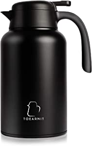 TOEARNIT Coffee Carafe Stainless Steel - Heavy Duty, 24hr Lab Tested Heat Retention, 2 Liter 68oz Insulated Coffee, Water & Beverage Dispenser,Black