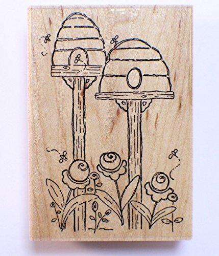 JRL Designs Bee Hives Wooden Rubber Stamp N277