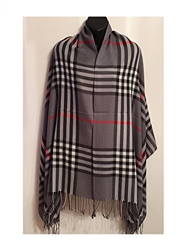 9Proud Dark Grey Long Soft Stole Shawl Wrap 76'' x 28'' Scarf Plaid Checker by 9Proud