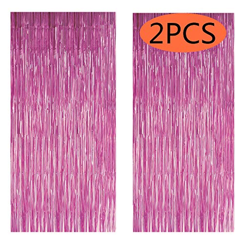 Fecedy 2pcs 3ft x 8.3ft Light Pink Metallic Tinsel Foil Fringe Curtains for Party decorations