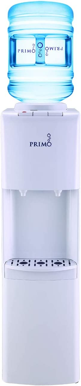 Primo Top Loading Water Cooler - 2 Temperature Settings, Hot & Cold - UL/Energy Star Qualified Water Dispenser with Child-Resistant Safety Feature Supports 3 or 5 Gallon Water Jugs [White]