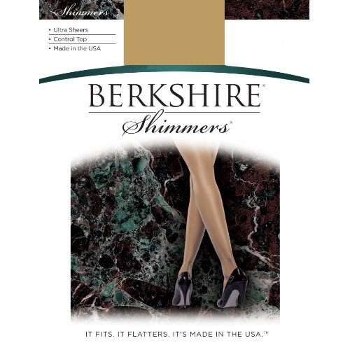 Pantyhose Sheer Berkshire (Berkshire Women's Shimmers Ultra Sheer Control Top Pantyhose 4429, Black, 4)