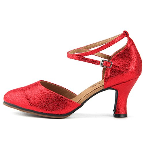 Miyoopark Womens Comfortable Ankle Strap Leather Latin Dance Shoes Evening Pumps Red-7cm Heel AZPHMXt