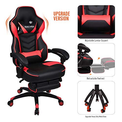 YOURLITEAMZ Video Gaming Chair Racing Office – PU Leather High Back Ergonomic 170 Degree Adjustable Swivel Executive Computer Desk Task Large Size with Footrest,Headrest and Lumbar Support (Red)