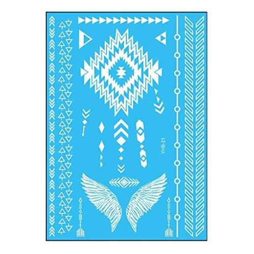 Oottati Tatouages Temporaires Mariée Blanche Mariage Mandala Bracelet Ailes Triangle (2 Feuilles)