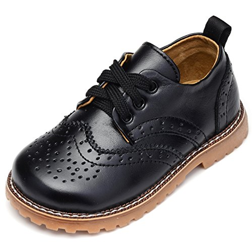 UBELLA Toddler Boys Girls Breathable Hollow Leather Lace Up Flats Oxfords Dress Shoes ()