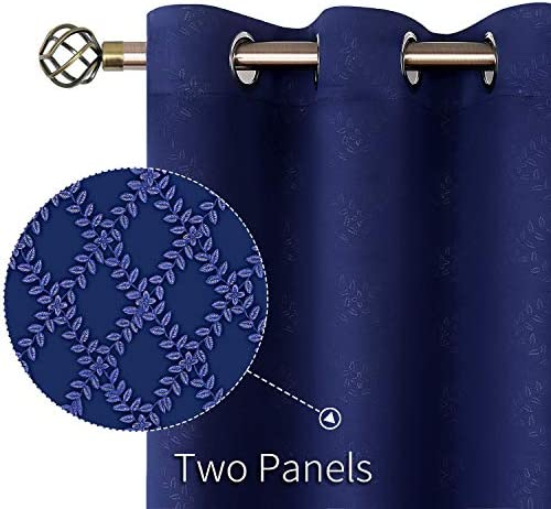 BGment Embossed Blackout Curtains for Bedroom – Grommet Thermal Insulated Room Darkening Curtains for Living Room, 52 x 63 Inch, Set of 2 Panels, Navy