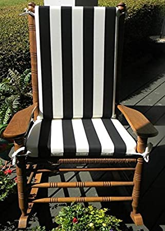 Superieur Amazon.com: Indoor / Outdoor Black U0026 White Stripe Print Rocking Chair 2 Pc  Foam Cushion Set ~ Fits Cracker Barrel Rocker: Home U0026 Kitchen