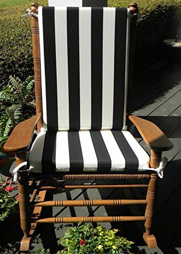 Indoor Outdoor Black White Stripe Print Rocking Chair 2 Pc Foam Cushion Set Fits Cracker Barrel Rocker
