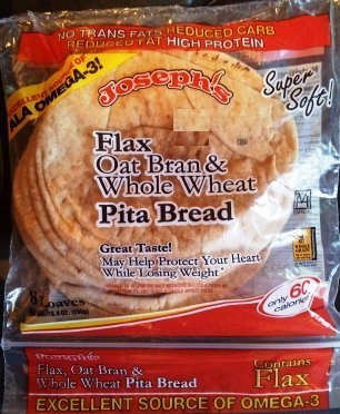 Josephs Flax Oat Bran and Whole Wheat Pita Bread, 8 oz. (Pack of 2)