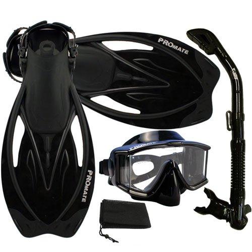 Promate Snorkeling Scuba Dive Panoramic Purge Mask Dry Snorkel Fins Gear Set, ALLBlack, ML/XL