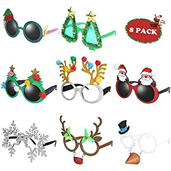 Color b Assorted Styles Aneco 6 Pack Christmas Glasses Frames Glitter Christmas Decoration Costume Eyeglasses Xmas Creative Eyewear for Holiday Costume Favors