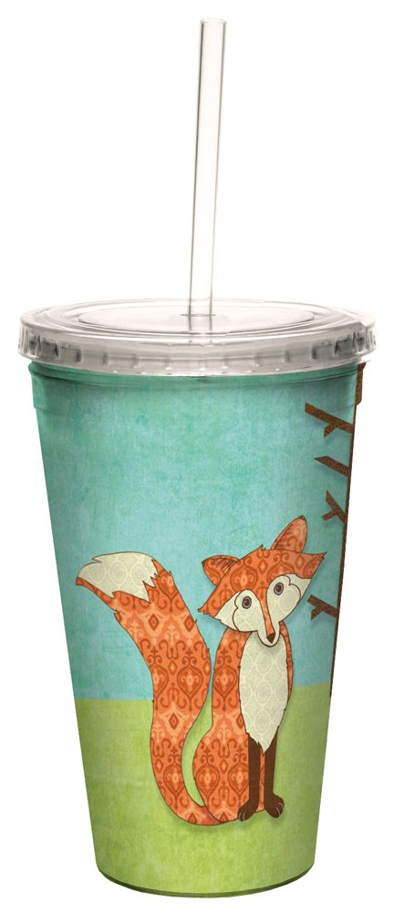 Tree-Free Greetings Insulated Travel Drink Tumbler with Straw, 16 oz, Whimsical Fox