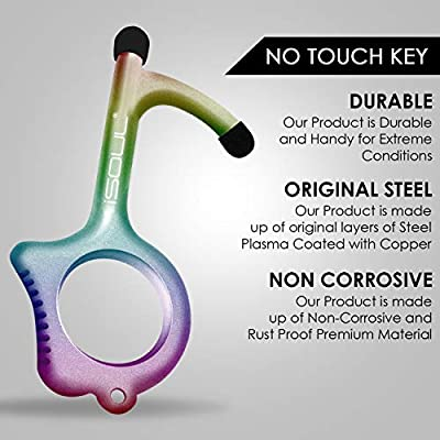 Retractable ONE TOUCH Contactless Door Opener Tool Antimicrobial Hygiene Keyring Bottle Opener Door Handle Closer Touch Screen Button ATM /& Mobile Stylus Pen No Touch Key Safety Tool EDC Hook