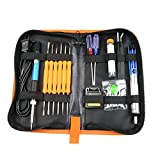 110V 60W adjustable temperature welding soldering iron Kit 8 in 1-Soldering Gun Pen, Soldering tips, Soldering sucker, Soldering tools, Solde Tin Wire Tube, tweezers, stand and tool carry case