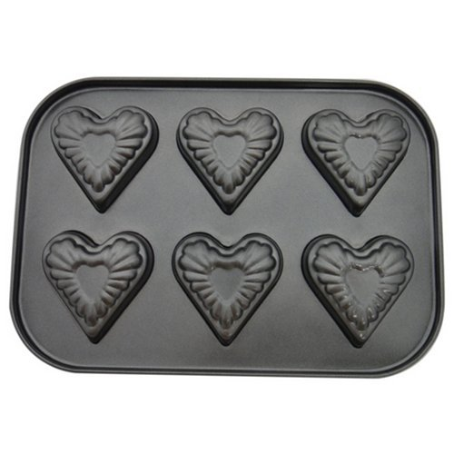 Stock Show 1Pcs 6 Cavity Heart-shaped Stainless Iron Cake Mould/Pan/Modle/Pattern/Mold,Black