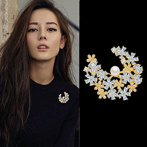 Brooch Cameo 18k (Crystal zircon diamond luxury atmosphere fashion flower brooch pin 18k gold color retention package in Europe and America gift)