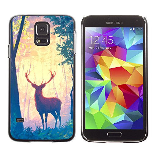 amsung Galaxy S5 deer forest trees art painting drawing animal / Slim Black Plastic Case Cover Shell Armor