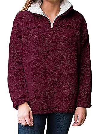 Amazon.com: Remikstyt Womens Sherpa Pullover Casual Fleece