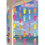 "Amscan Sun-Sational Summer Luau Colorful Flip Flops String Decorations (6 Piece), Multi Color, 11.9 x 6.7"""