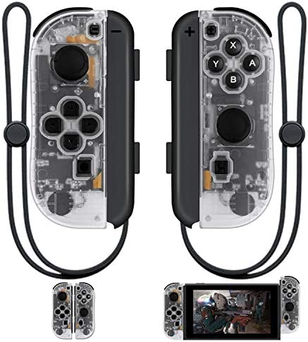 SINGLAND Joy Con Wireless Controller Replacement for Switch,Left&Right Remote with Wrist Strap Support Wake-up Function(Transparent)