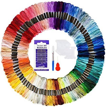 CYH Hilo de Punto de Cruz 100 Tipos de Colores, Hilos de Bordar, Bordado Kit de Hilos Cross Stitch, Bordados Hilo de Bordar de Algodón 100%