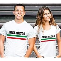 1WEN! Viva México Dúo de playeras para pareja, Blancas.