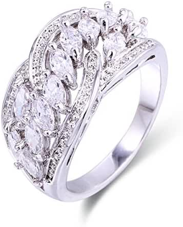 Women Rings AAA Cubic Zirconia Rhodium Plated Marquise Shaped Party Evening Jewelry Size 6 7 8 9 White