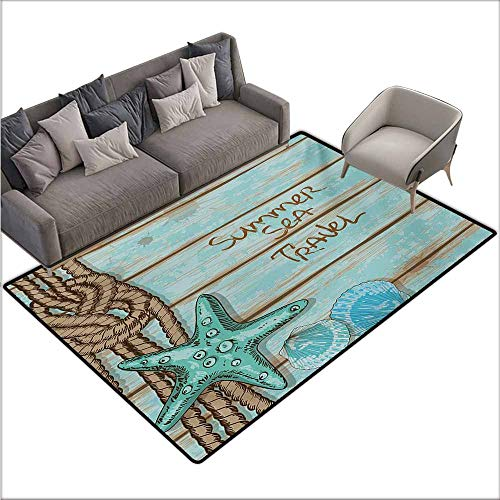 Door Rug for Internal Anti-Slip Rug Starfish Summer Season Sea Travel Retro Boards of Ship Deck Rope Scallops Non-Slip Backing W78 xL94 Brown Mint Green Turquoise