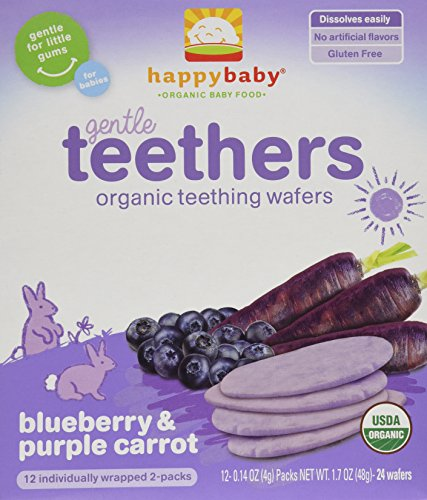 Happy Baby Gentle Teethers Organic Teething Wafers, Blueberry and Purple Carrot, 12 Count