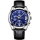 Watches for Men Chronograph Waterproof Sports Analog Quartz Watch Gents Leather Fashion Casual Dress Wrist Watch - Blue