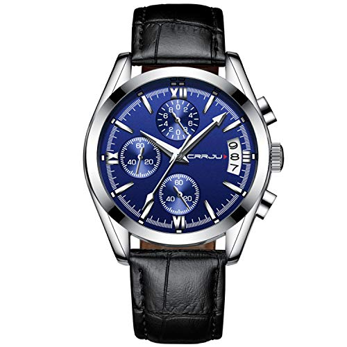 Watches for Men Chronograph Waterproof Sports Analog Quartz Watch Gents Leather Fashion Casual Dress Wrist Watch - Blue ()