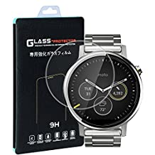 Motorola Moto 360 46mm Screen Protector(2 PACK), Qosea Ultra-thin 2.5D 9H Hardness Crystal Clear Scratch Resistant Tempered Glass Screen Protector for Motorola Moto 360 1st/2nd Generation Smartwatch